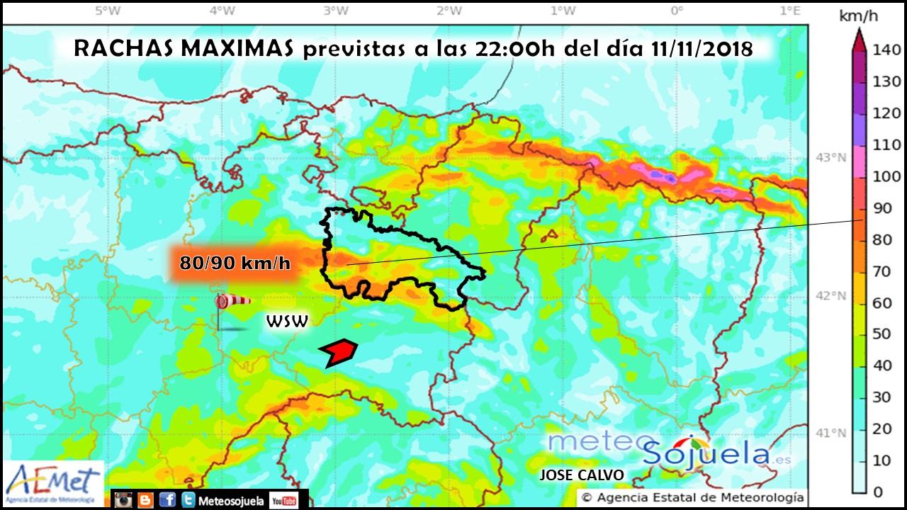 Rachas máximas de viento previstas por modelo HARMONIE. Meteosojuela
