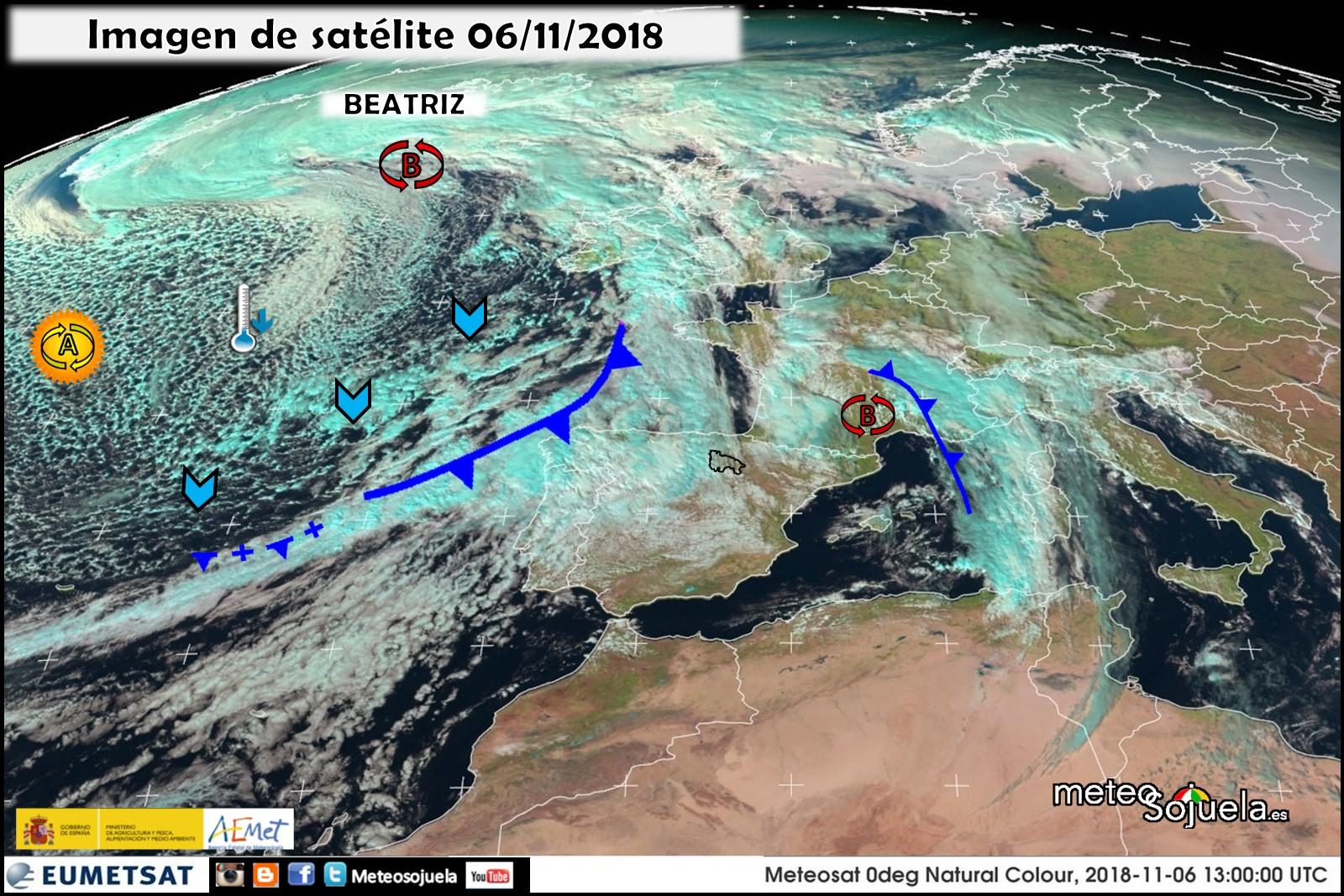 Imagenes de satélite, nubes bajas y cirrus. Meteosojuela.