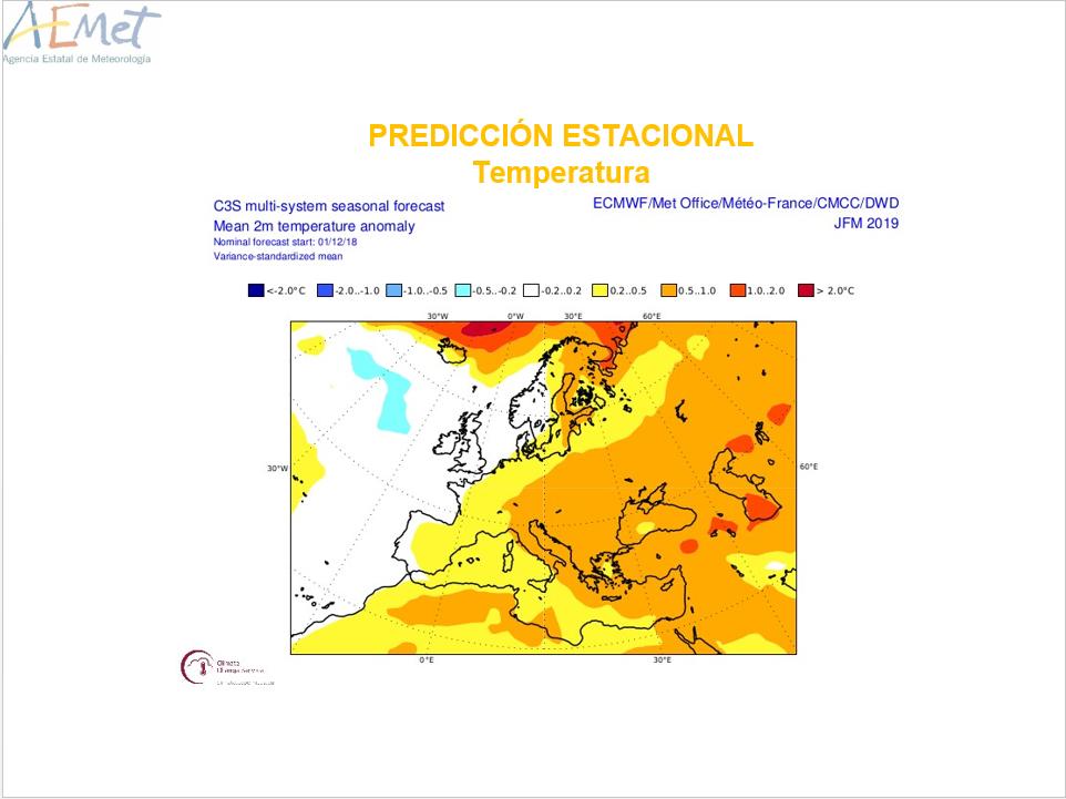 Anomalías Temperaturas Invierno ECMWF Meteosojuela La Rioja