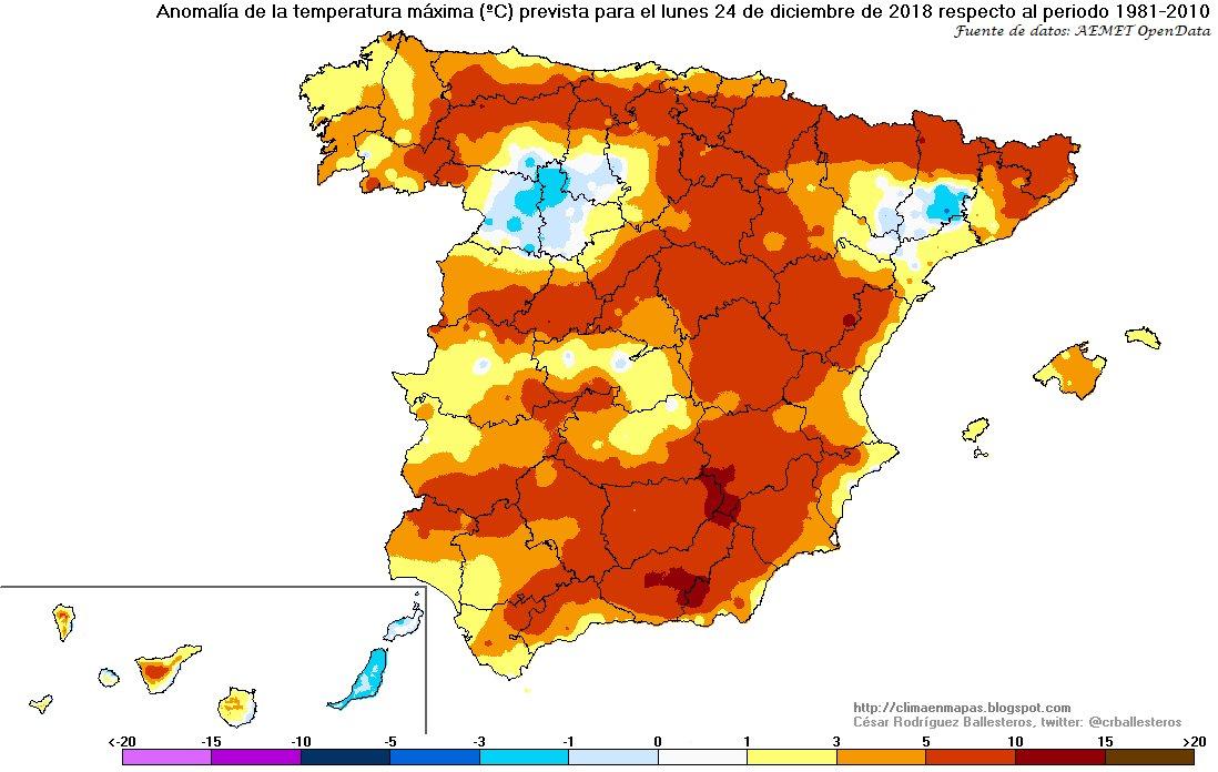 Anomalías Temperaturas Máximas. Meteosojuela La Rioja