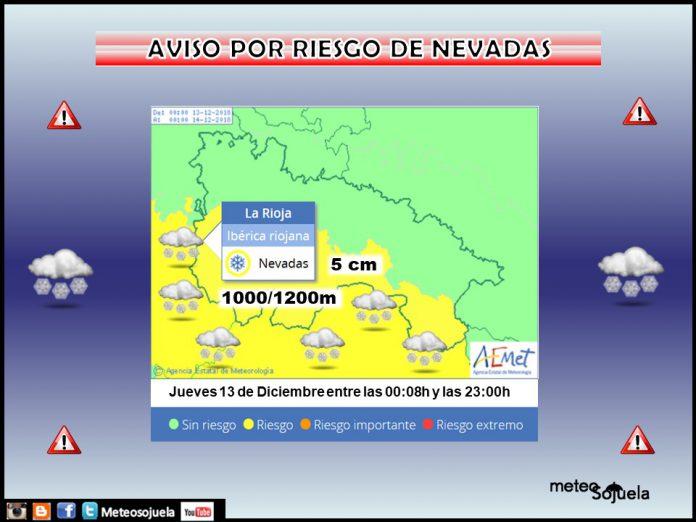 Aviso nevadas AEMET. Meteosojuela La Rioja