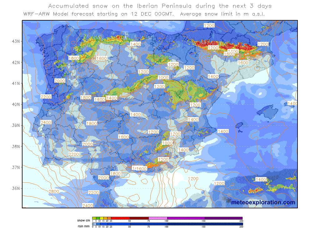 Mapas de nieve acumulada. Meteosojuela La Rioja