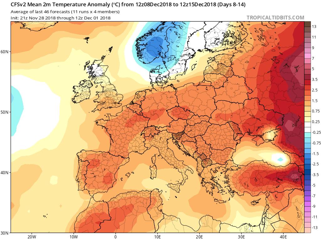 Modelos Anomalías de Temperatura CFS. Meteosojuela La Rioja