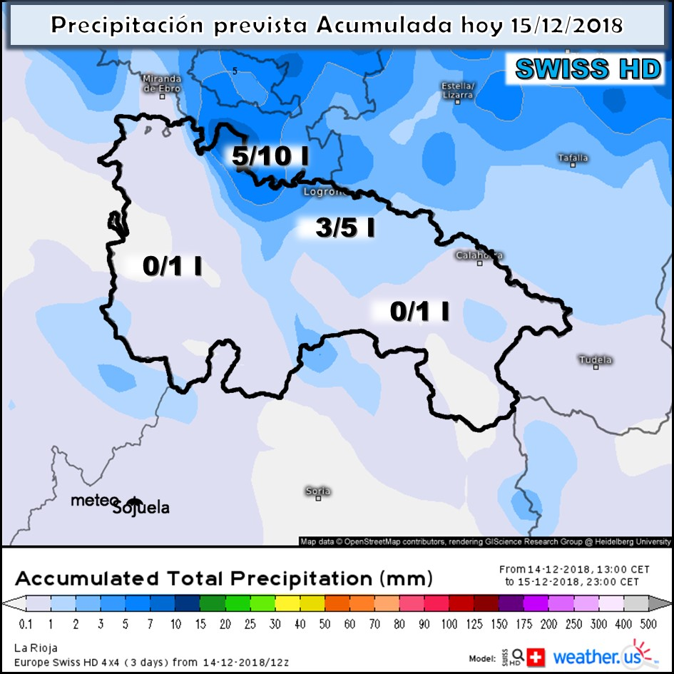 Modelos de precipitación Acumulada. Meteosojuela. La Rioja por Jose Calvo