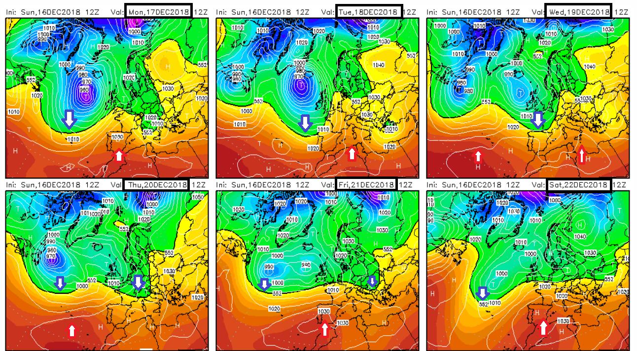 Modelos de predicción altura geopotencial 500hPa GFS. Meteosojuela La Rioja