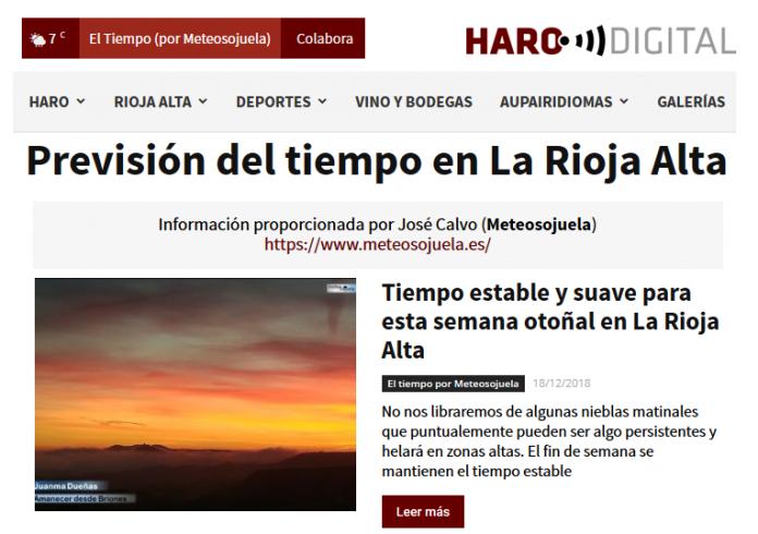 Portada Harodigital.com Meteosojuela. 1812 La Rioja