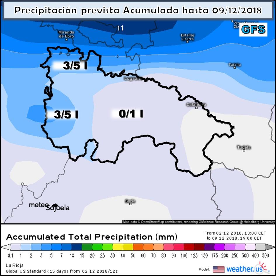 Precipitación acumulada GFS. Meteosojuela