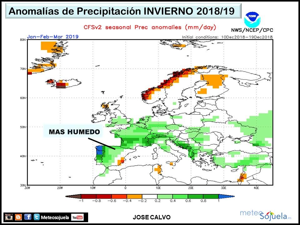 Prevision estacional INVIERNO Precipitacion. Meteosojuela La Rioja