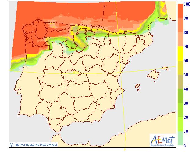 Probabilidad de precipitación AEMET. Meteosojuela.30