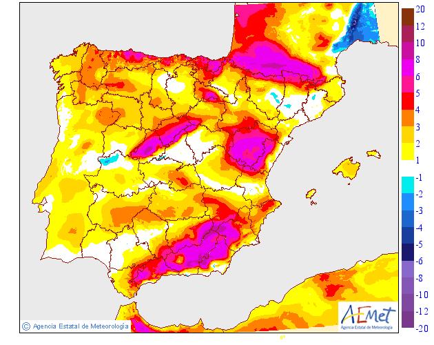 Variación de temperaturas máximas AEMET 15 . Meteosojuela Jose Calvo