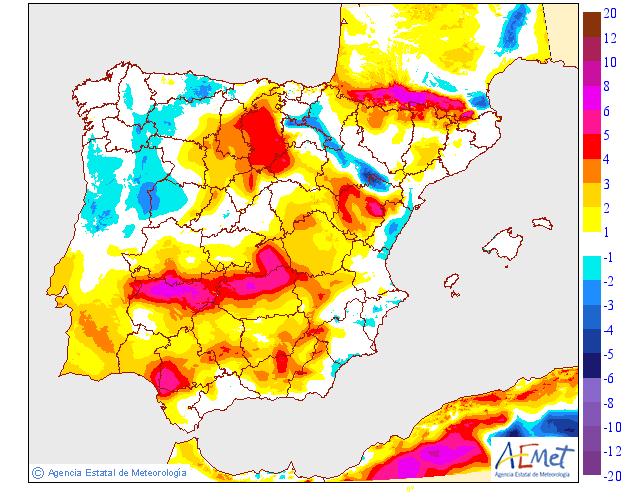 Variación de temperaturas máximas AEMET. 18 Meteosojuela La Rioja