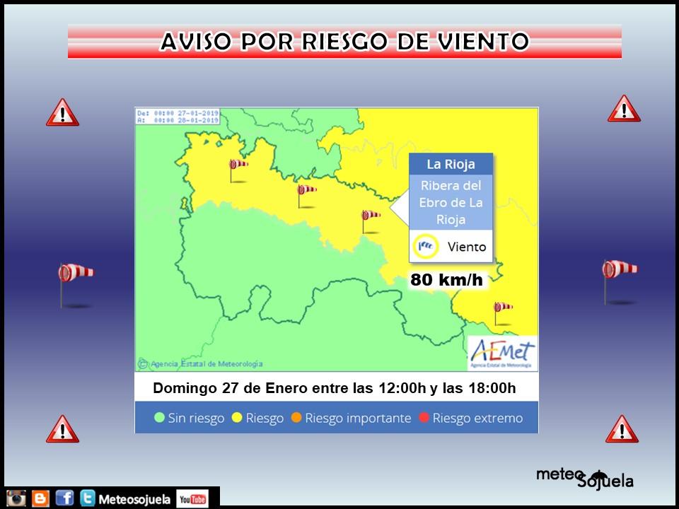 AVISO AMARILLO VIENTO AEMET. Meteosojuela La Rioja
