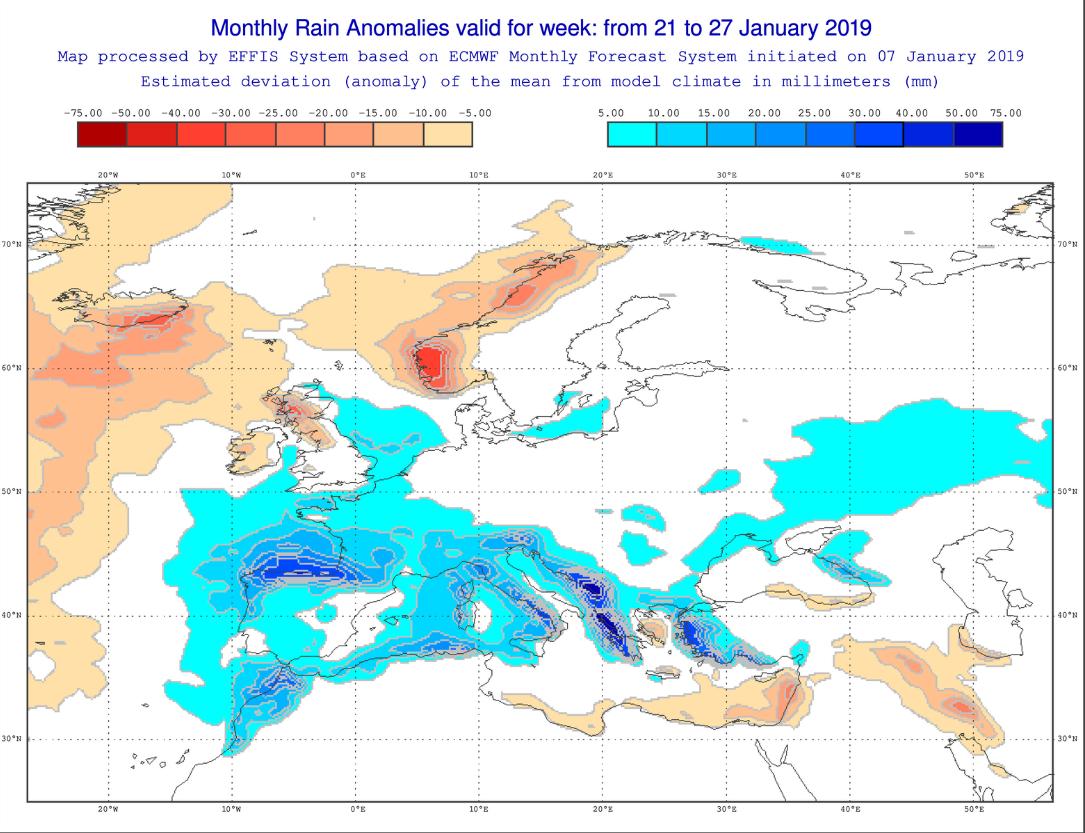 Anomalías Precipitación Enero 4 semana ECMWF