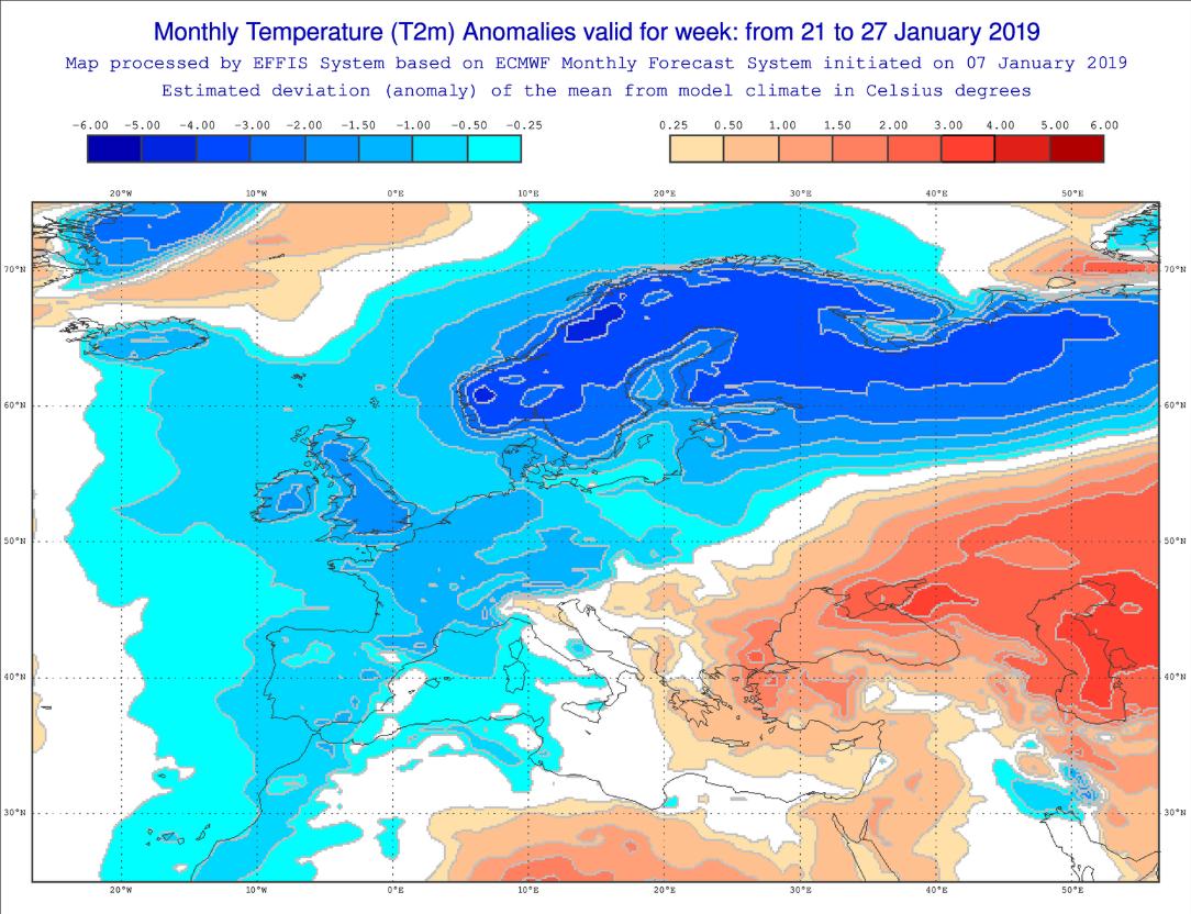 Anomalías Temperaturas Enero 4 semana ECMWF