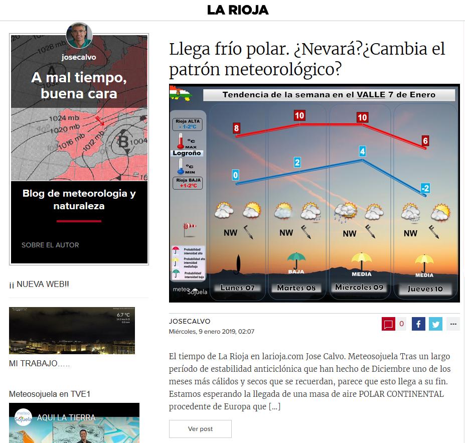 Artículo larioja.com.com sobre la ola de frio Meteosojuela La Rioja Jose Calvo