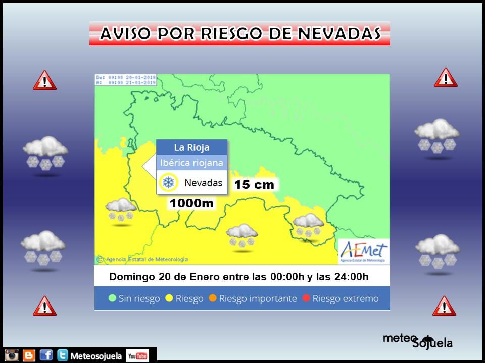 Aviso Amarillo Nieve AEMET. D Meteosojuela La Rioja