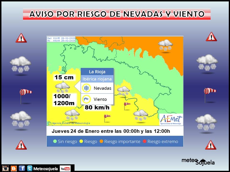 Aviso Amarillo Nieve AEMET. Def Meteosojuela La Rioja