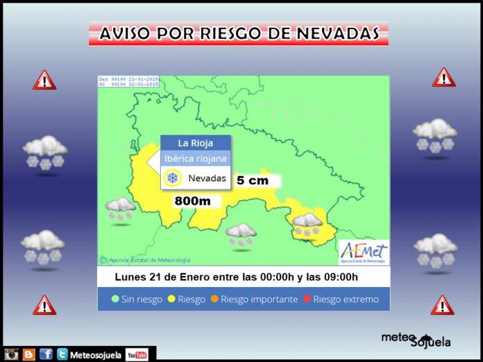 Aviso Amarillo Nieve AEMET. Meteosojuela La Rioja