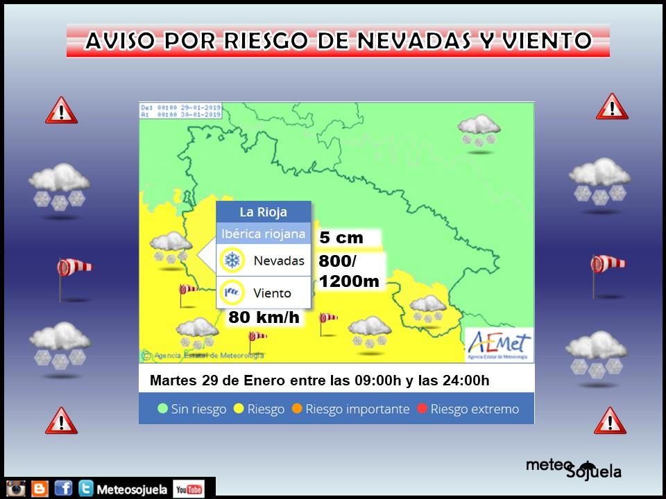 Aviso Amarillo Nieve y Viento AEMET