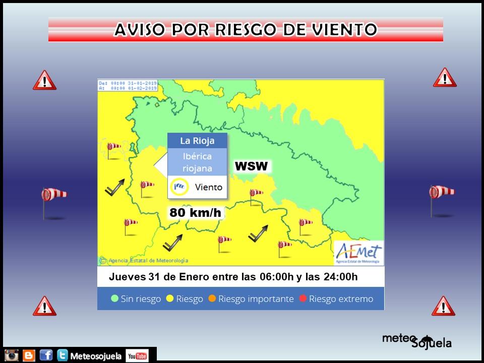 Aviso Amarillo Viento AEMET. 28 Meteosojuela La Rioja