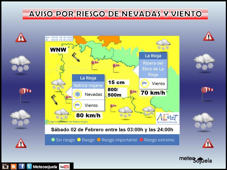 Aviso Amarillo Viento y Nieve AEMET. 02 Meteosojuela La Rioja