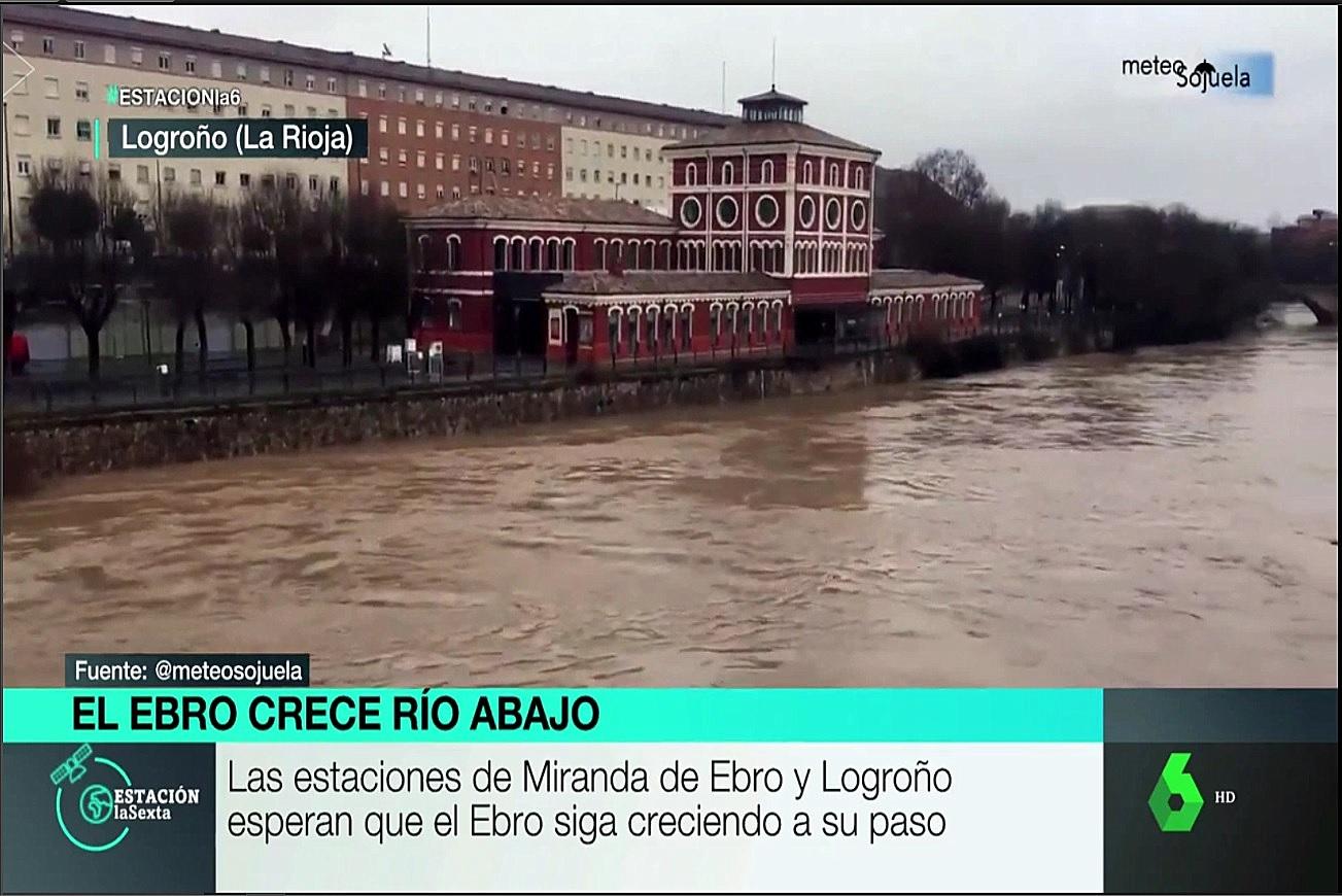 Crecida río Ebro Estación La Sexta. Meteosojuela La Rioja
