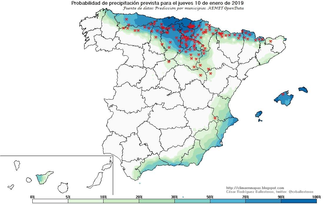 Mapas de probabilidad de precipitación. Meteosojuela La Rioja