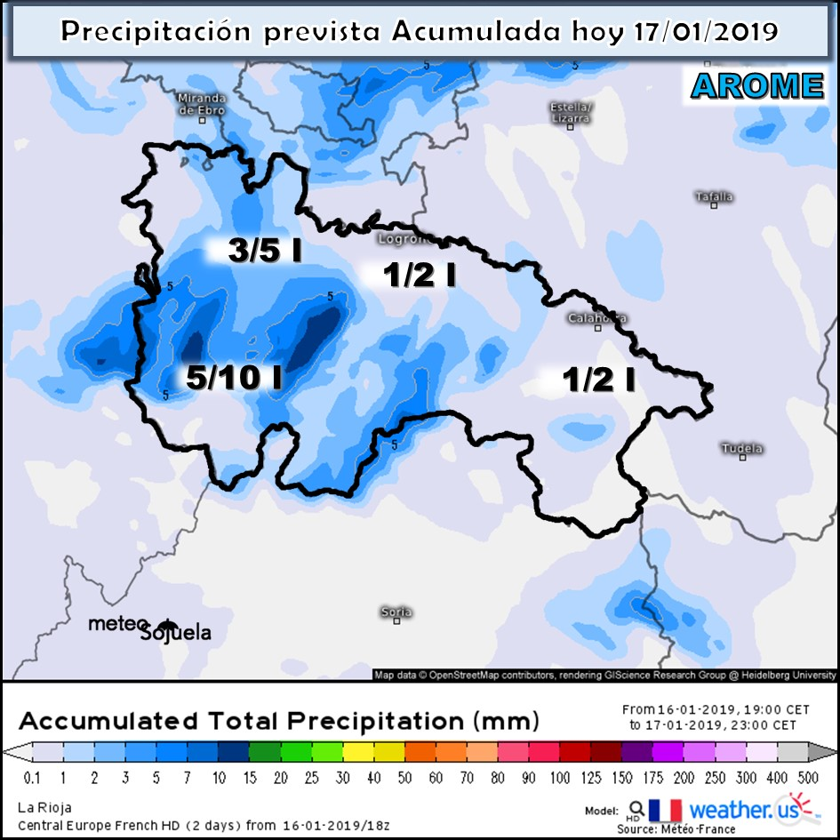 Modelos de Precipitación Acumulada. AROME. Meteosojuela la Rioja