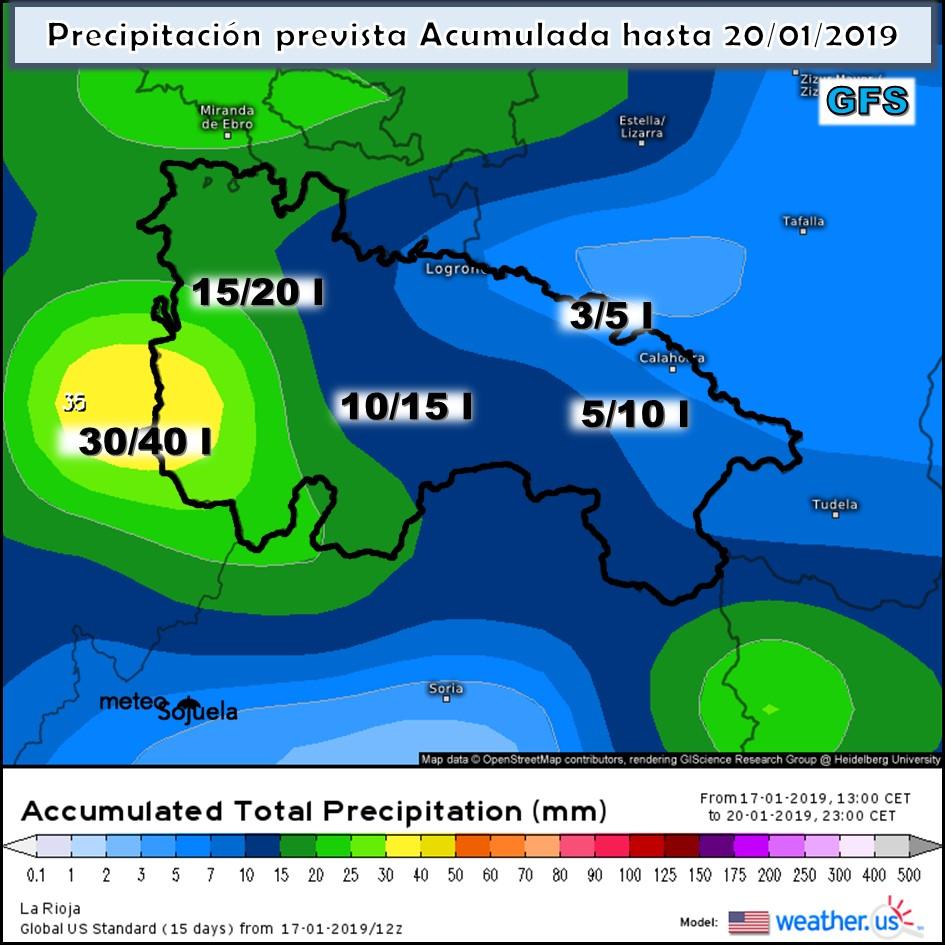Modelos de precipitación acumulada Meteosojuela La Rioja