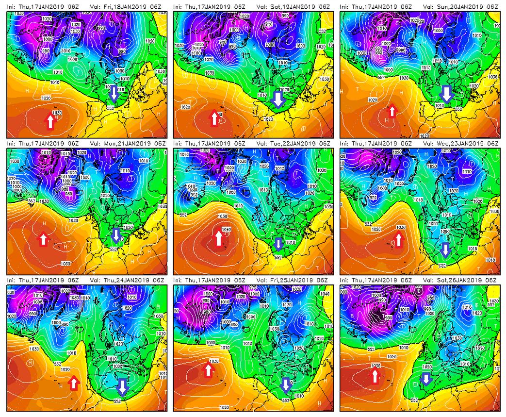 Modelos de predicción altura geopotencial 500hPa. Meteosojuela