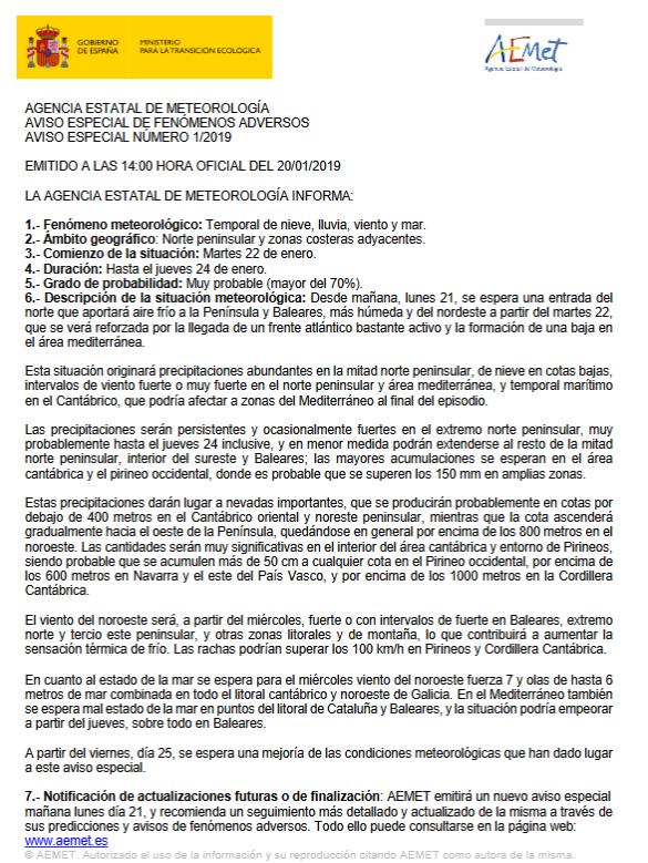 Nota Informativa AEMET. Meteosojuela La Rioja