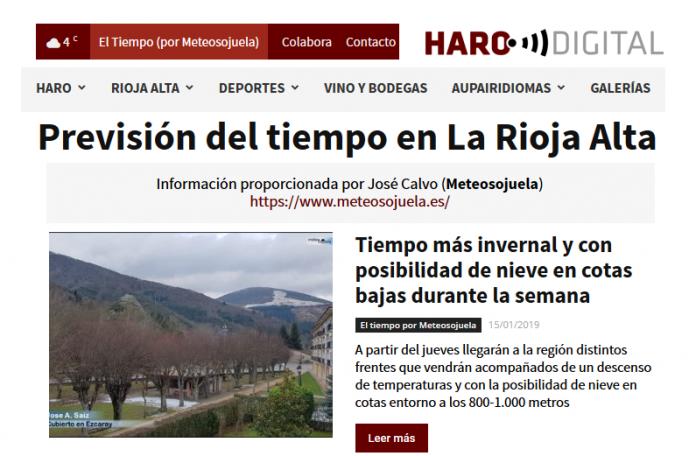 Portada Harodigital.com 15012019 Meteosojuela. La Rioja
