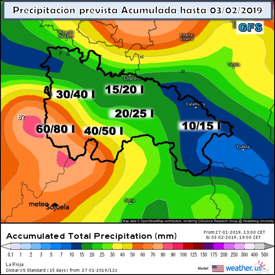 Precipitación acumulada GFS. MeteosojuelaLa Rioja