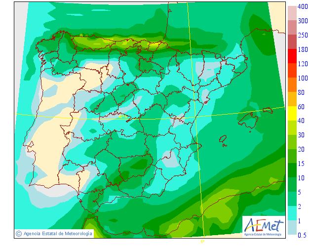 Precipitación media AEMET. 20 Meteosojuela La Rioja