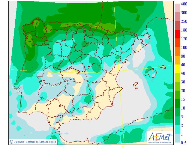 Precipitación media AEMET.29 Meteosojuela La Rioja