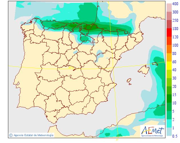 Probabilidad de precipitación AEMET. 25 Meteosojuela La Rioja