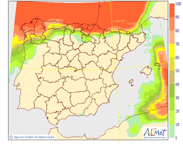 Probabilidad de precipitación AEMET. 26 Meteosojuela La Rioja