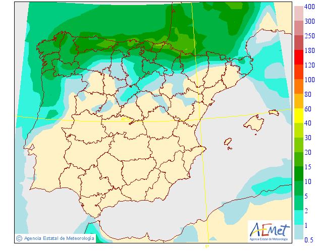 Probabilidad de precipitación AEMET. 27 Meteosojuela La Rioja