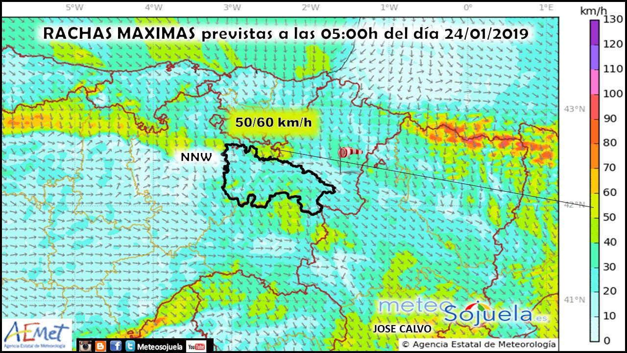 Rachas de viento modelo HARMONIE. Meteosojuela