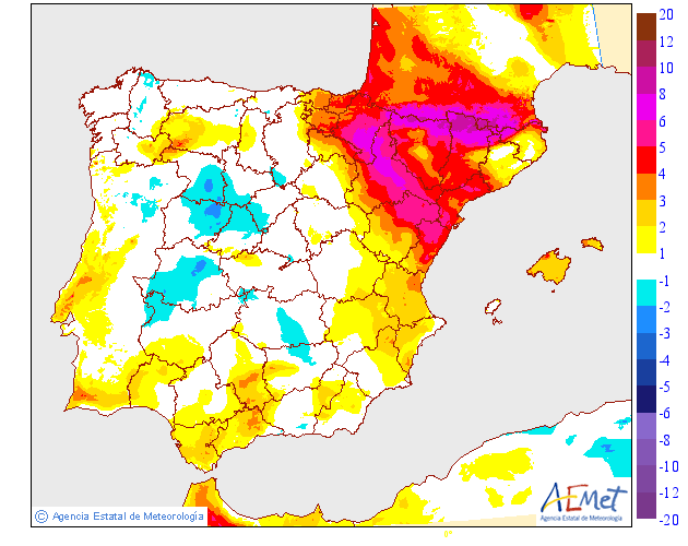 Variación de temperaturas máximas 25 AEMET. Meteosojuela