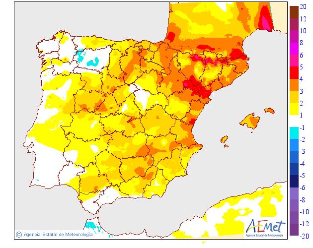 Variación de temperaturas máximas AEMET. 12 Meteosojuela La Rioja
