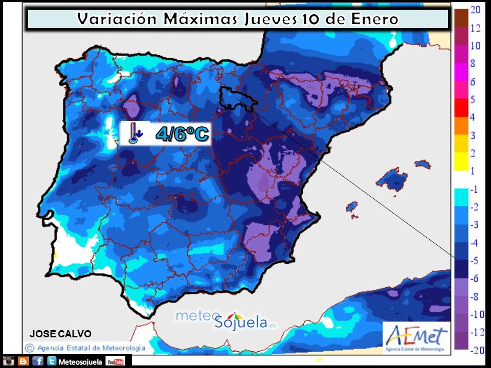 Variación de temperaturas máximas AEMET. Meteosojuela La Rioja