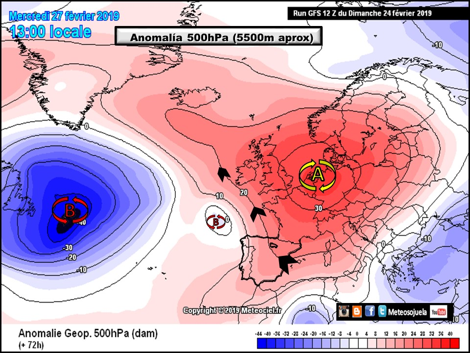 Anomalía Geopotencial a 500hPa