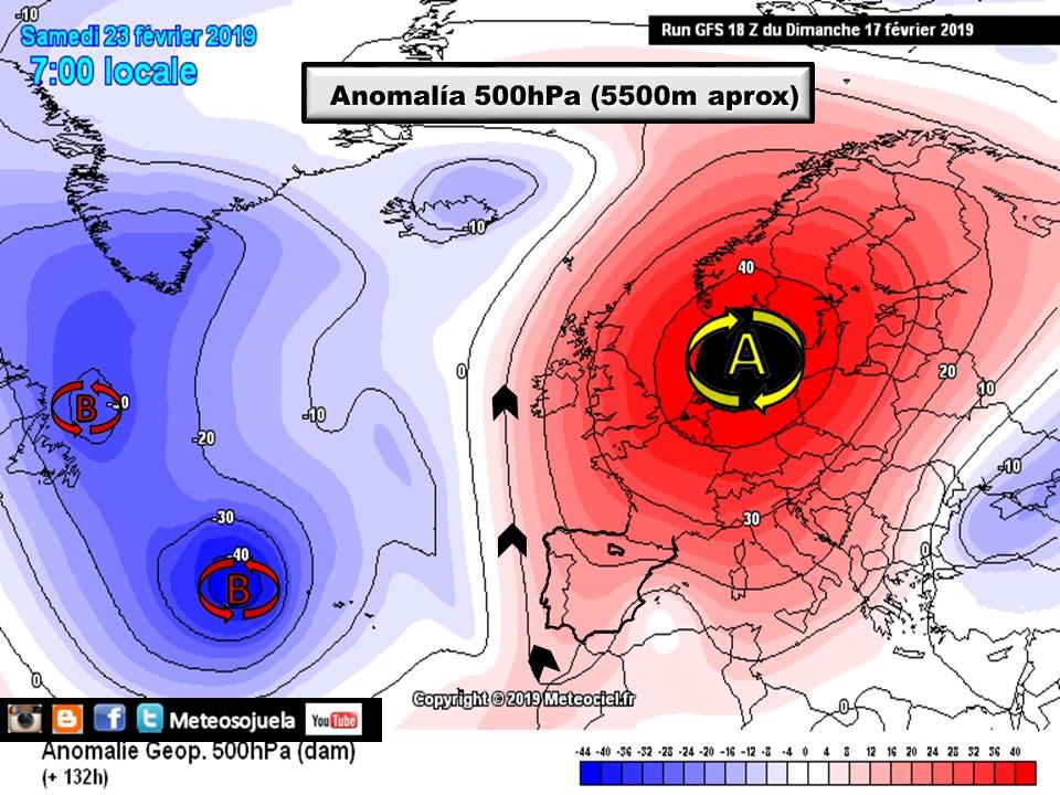 Anomalías Geopotencial 500hPa.meteosojuela La Rioja