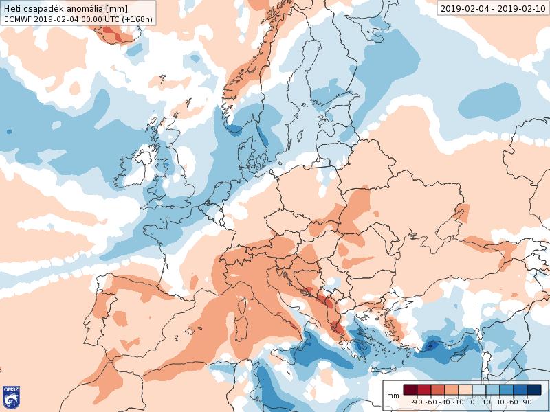 Anomalías Precipitación Febrero 1 semana ECMWF