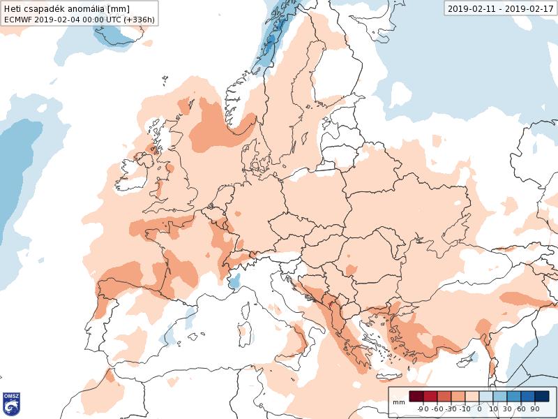Anomalías Precipitación Febrero 2 semana ECMWF