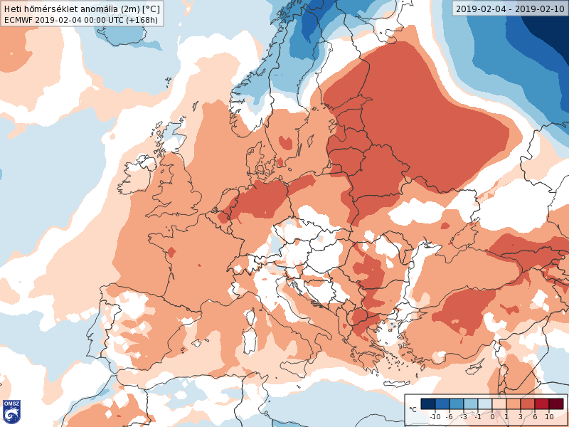 Anomalías Temperaturas Febrero 1 semana ECMWF