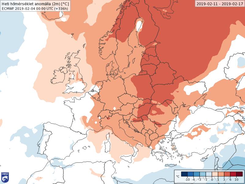Anomalías Temperaturas Febrero 2 semana ECMWF