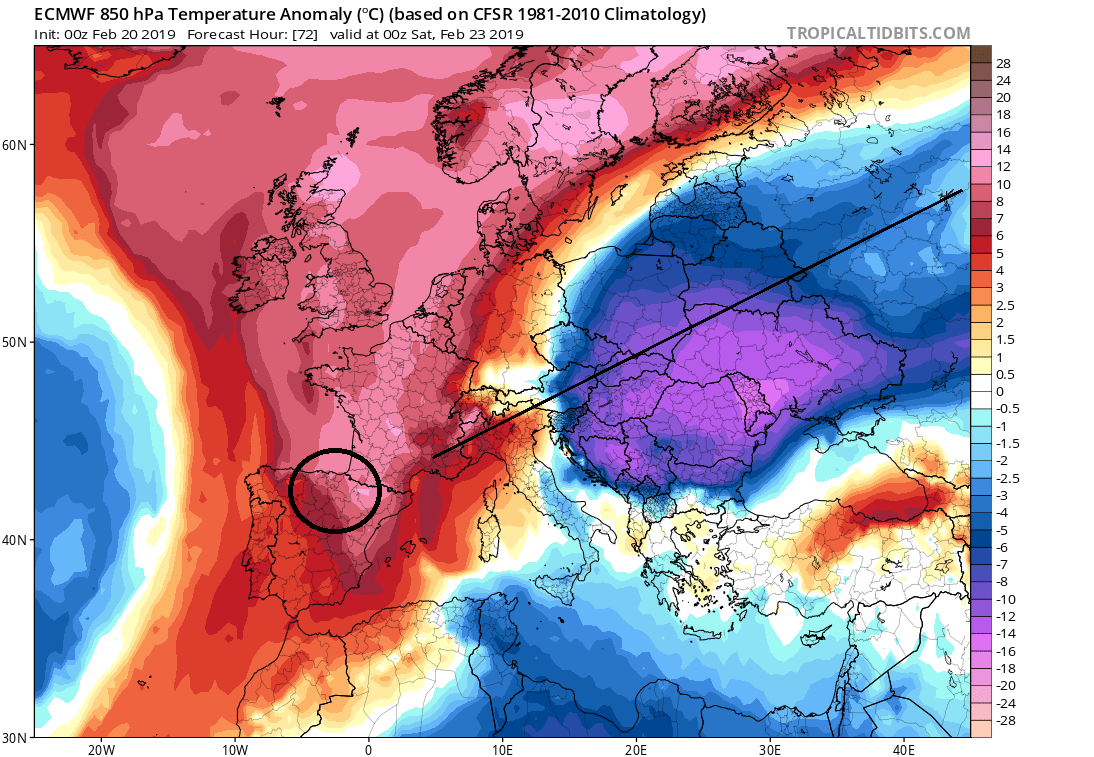 Anomalías temperaturas a 850hPa