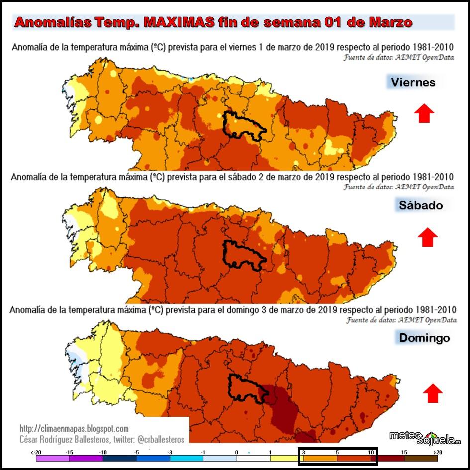 Anomalías temperaturas a superficie.Meteosojuela La Rioja